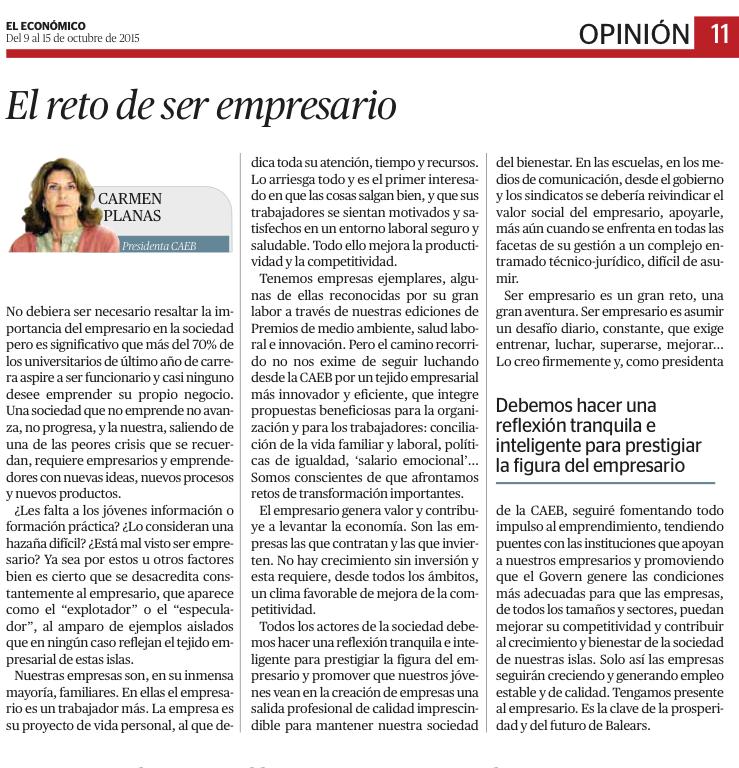 2015-10-09 El reto de ser empresario - El Económico